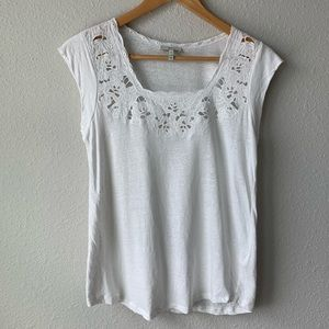 Joie | Floral Cutout Embroidered Top